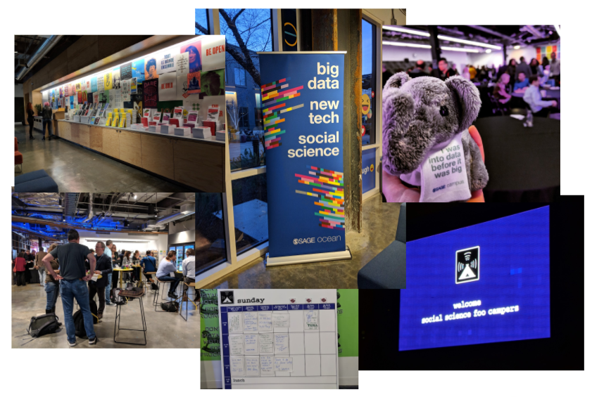 (Clockwise from top left): Books on display, the SAGE Ocean banner, the SAGE Campus elephant, welcome sign, Sunday schedule & attendees mingling