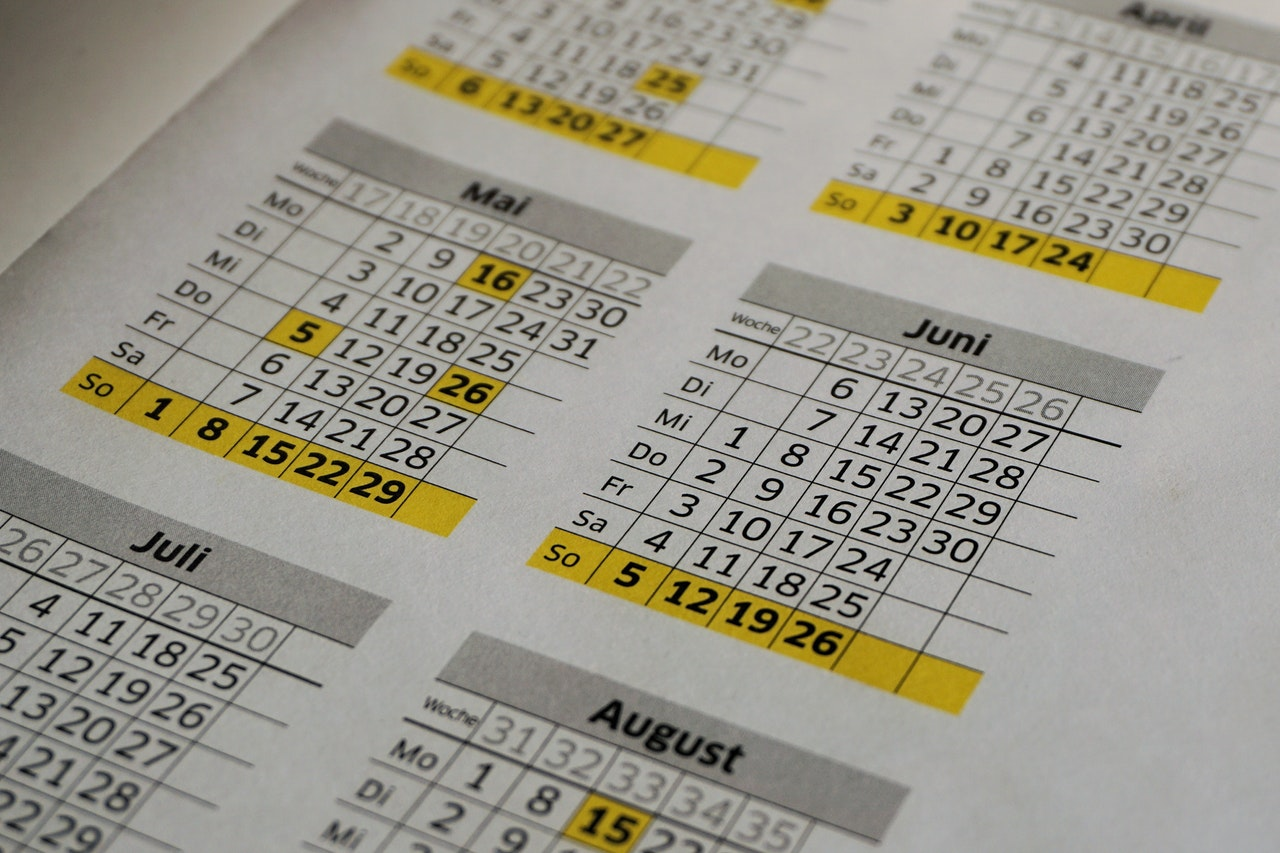 Image of a calendar. Cloud Vision APIs confuse tables of data with common objects, requiring careful handling of images to ensure useful classifications.