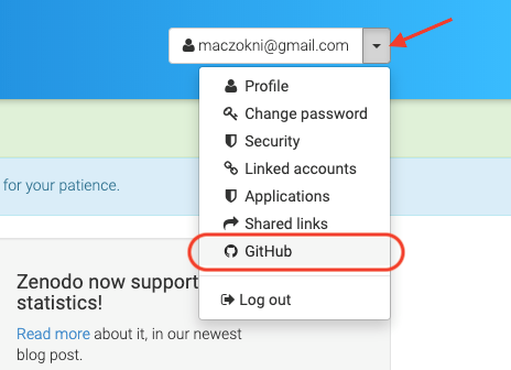 image shows the drop down menu that appears when you click on downwards arrow next to username, with an arrow pointing to the downwards arrow to click on, and a box encircling the GitHub option to select