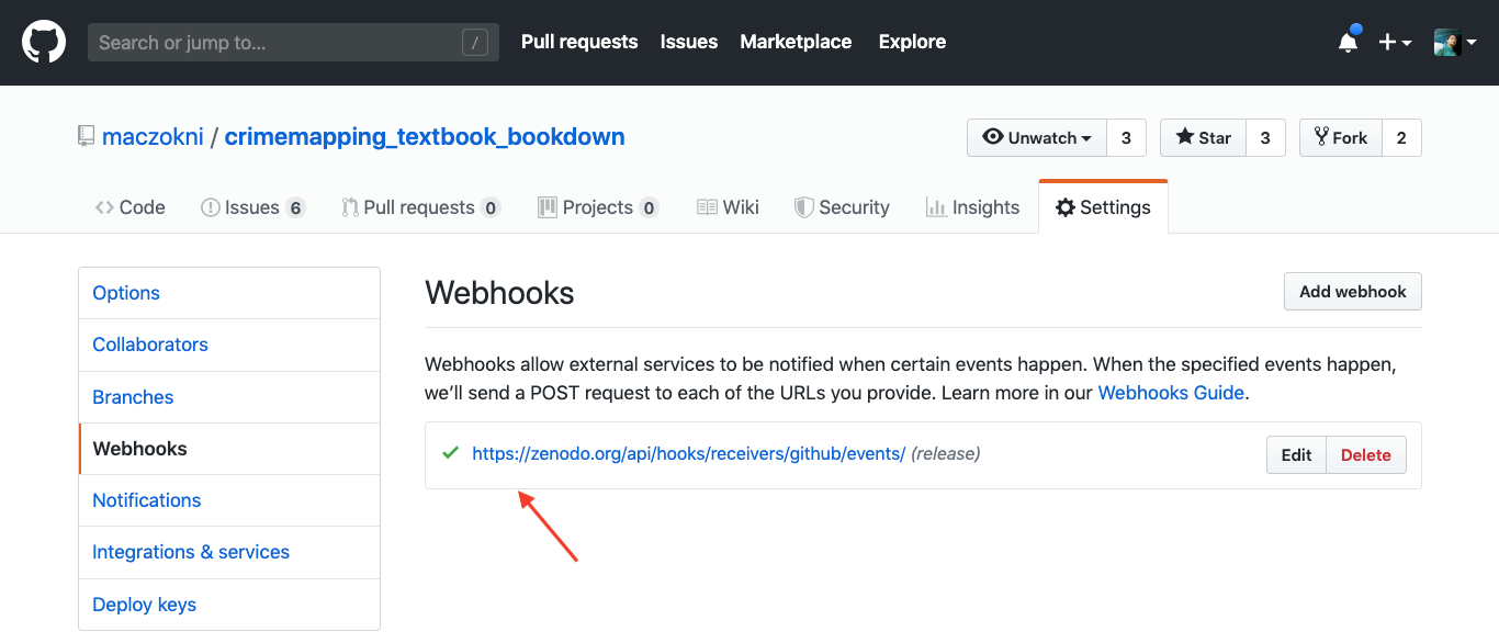 This image shows a screenshot f the settings menu on github where you select the webhooks tab, and see a url which starts with zenodo.org, with a red arrow pointing at the URL