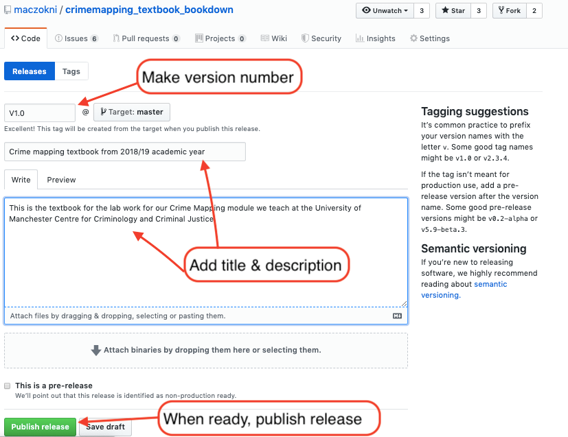 """this image shows the page you see when you are creating your release. it has arrows and text boxes pointing out where to write the version number, the title and description, and the """"publish release"""" button"""