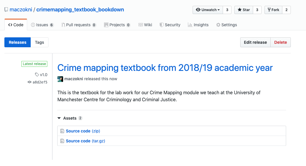 This is a screenshot of the textbook for the lab work for our Crime Mapping module we teach at the University of Manchester Centre for Criminology and Criminal Justice