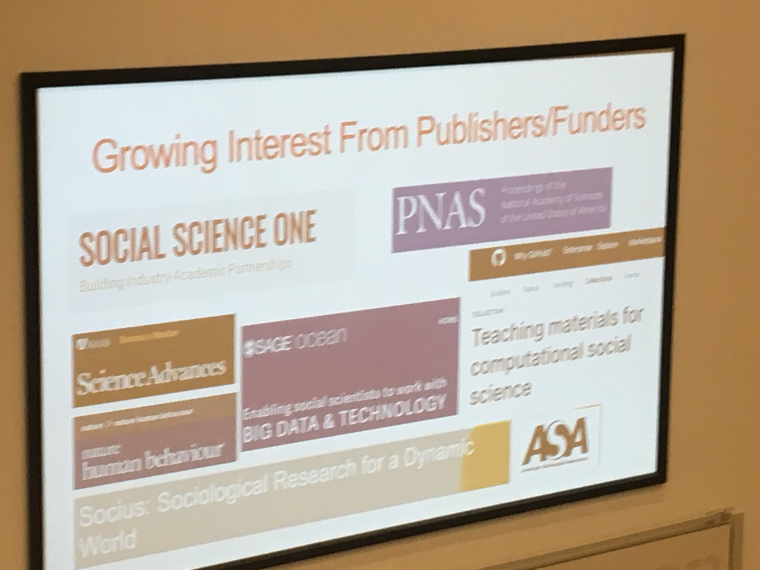 slide showing commitment from publishers and funders to computational social science
