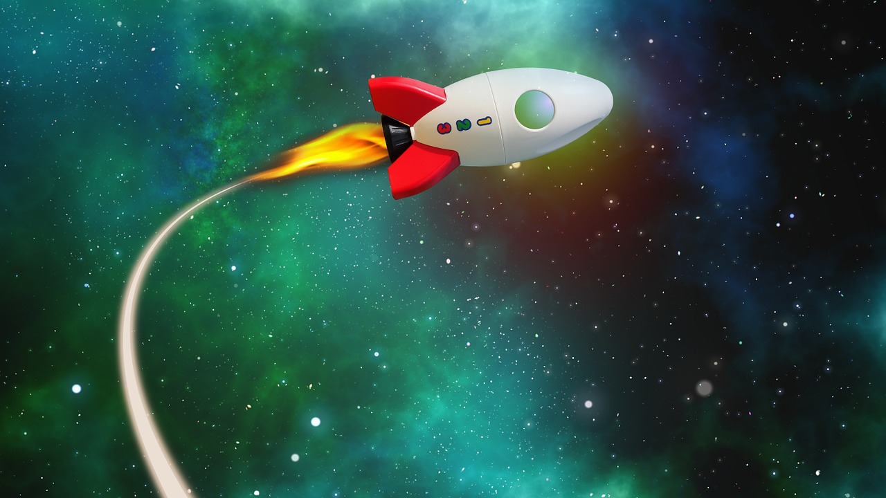 Cartoon rocket with starry sky background