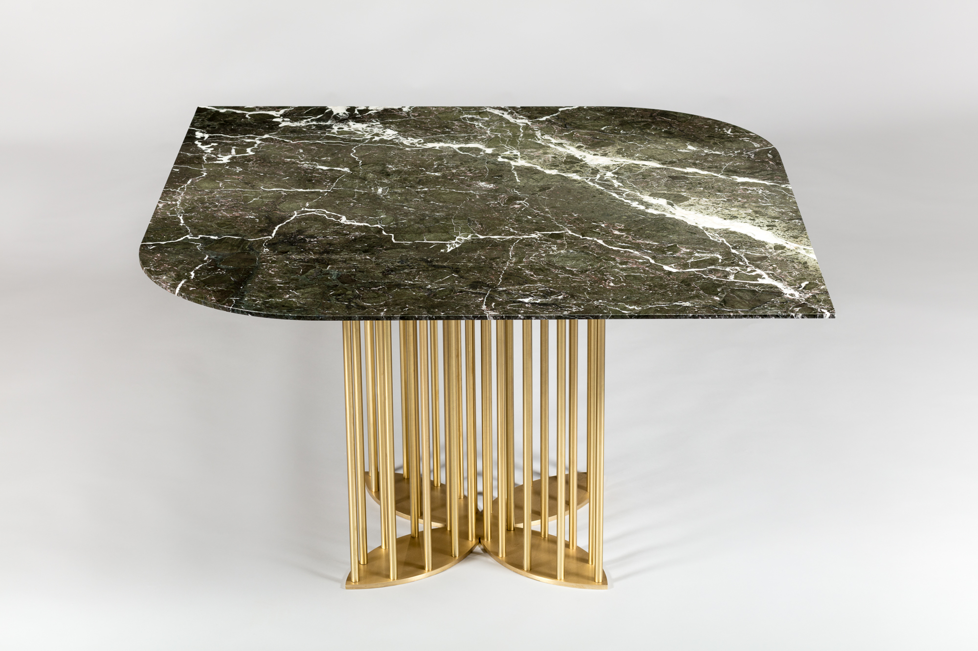 Top : Verde Levanto Marble  Base : Solid Brass