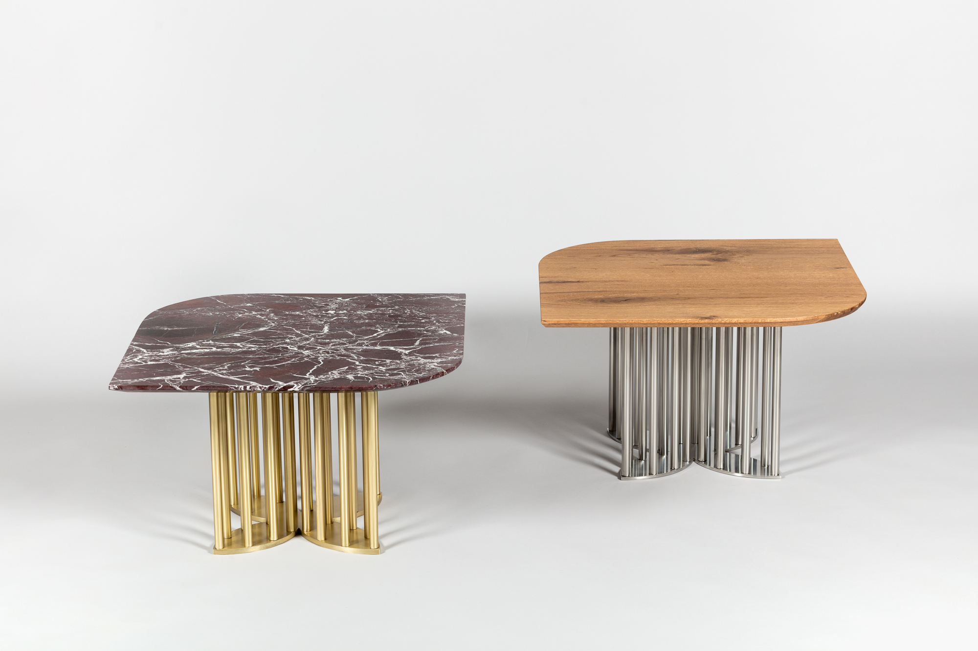 Top : Rosso Levanto Marble  Base : Solid Brass  Top : Solid Oak Veneer  Base : Stainless Steel