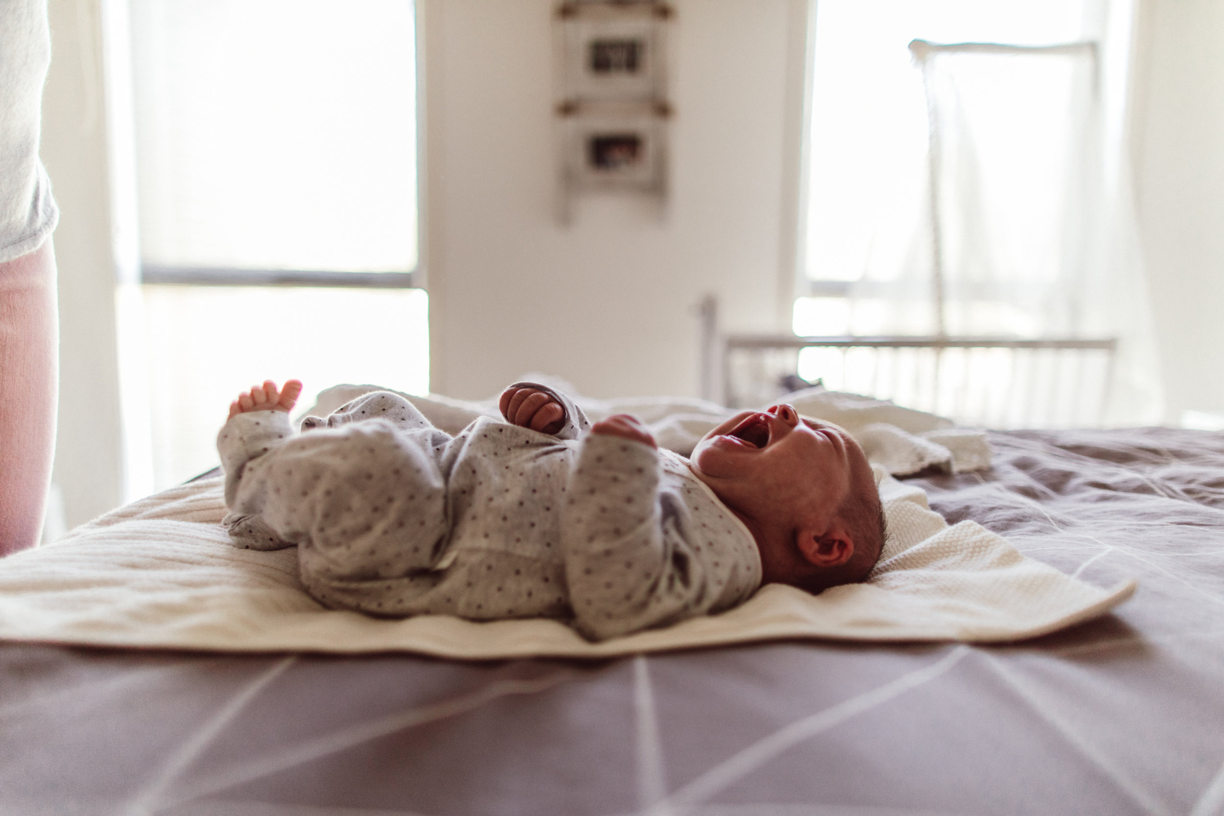 sydney birth photographer - newborn baby on bed
