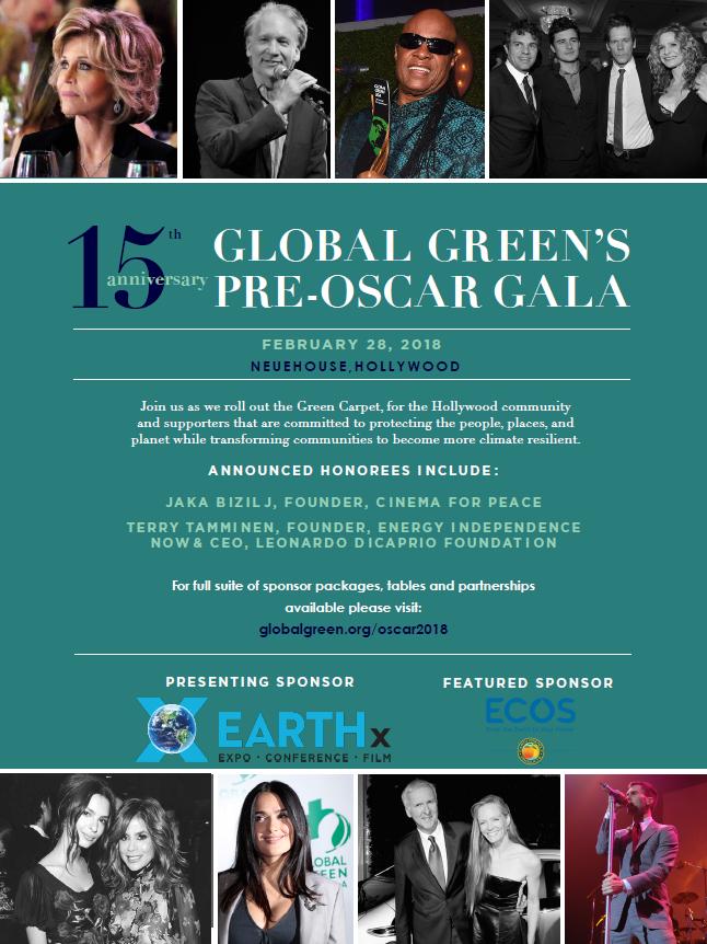 Invitation for the 15th Annual Global Green Pre Oscar Gala