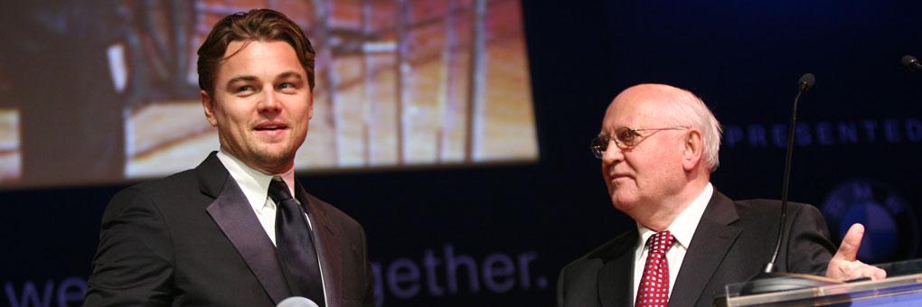 Leonardo DiCaprio and Mikhail Gorbachev at the 2009 Cinema for Peace Gala in Berlin