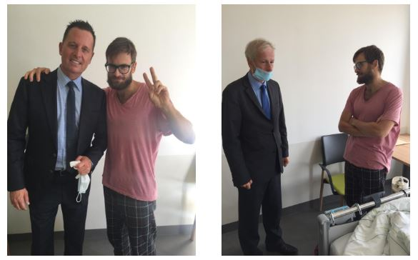 The last time Trump's ambassador Grenell embraced a Russian citizen: Pussy Riot's punk Peter Verzilov with the US Ambassador and the Canadian Ambassador Stephane Dion: different worlds in ideology, cross-border supporters on human rights