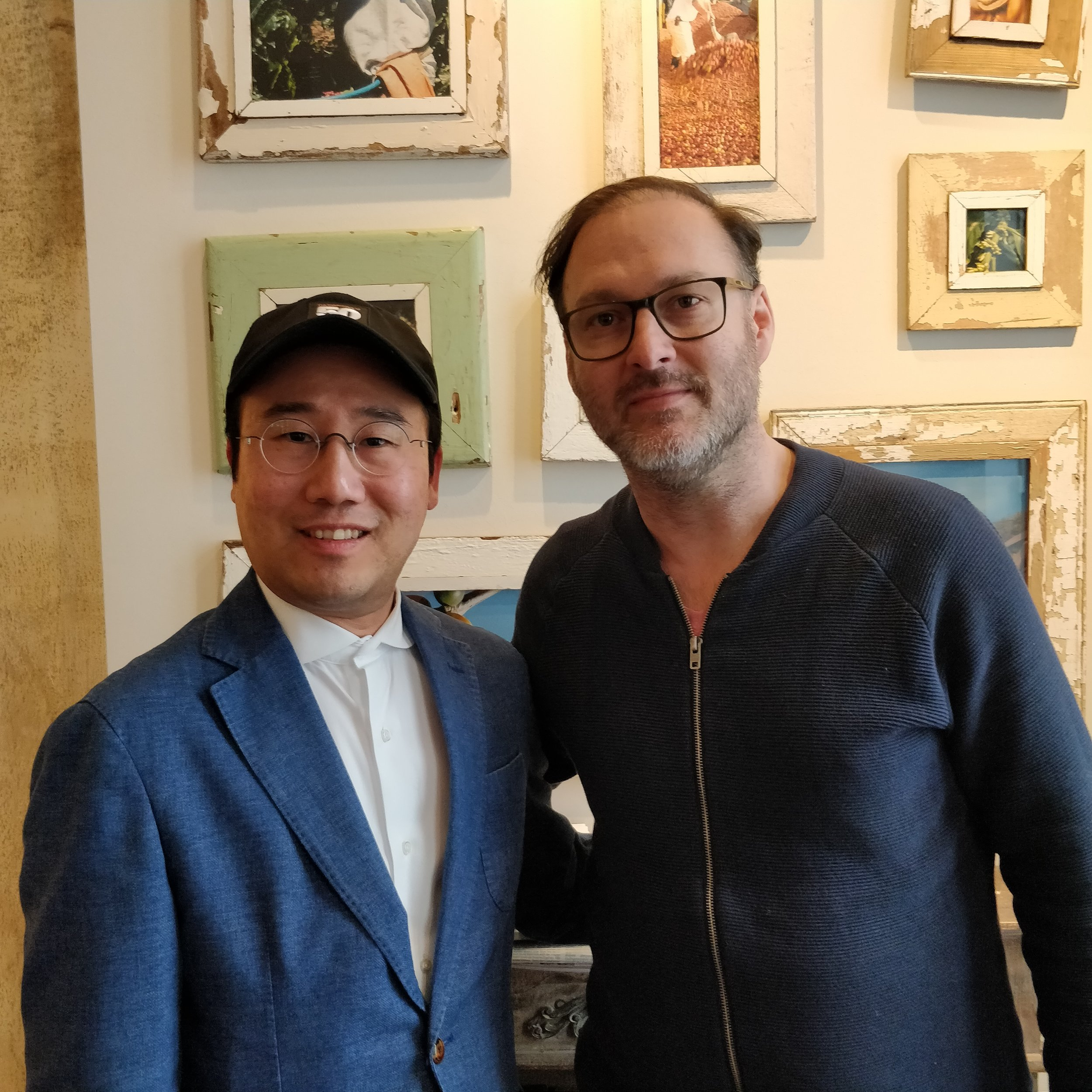 Founder of Lindenbaum Festival Orchestra, Hyung Joon Won with Cinema for Peace founder and Chairman, Jaka Bizilj.