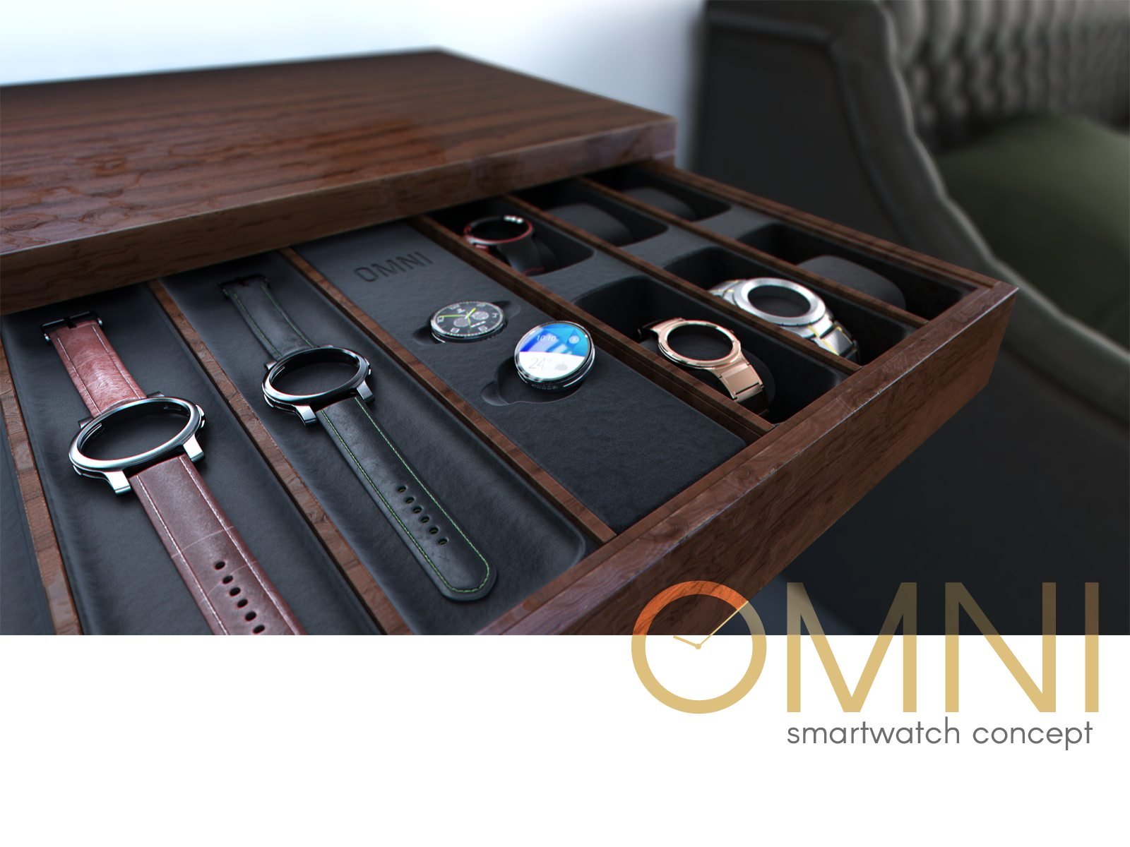 Omnis and Omni watch cases arranged in a wooden presentation display