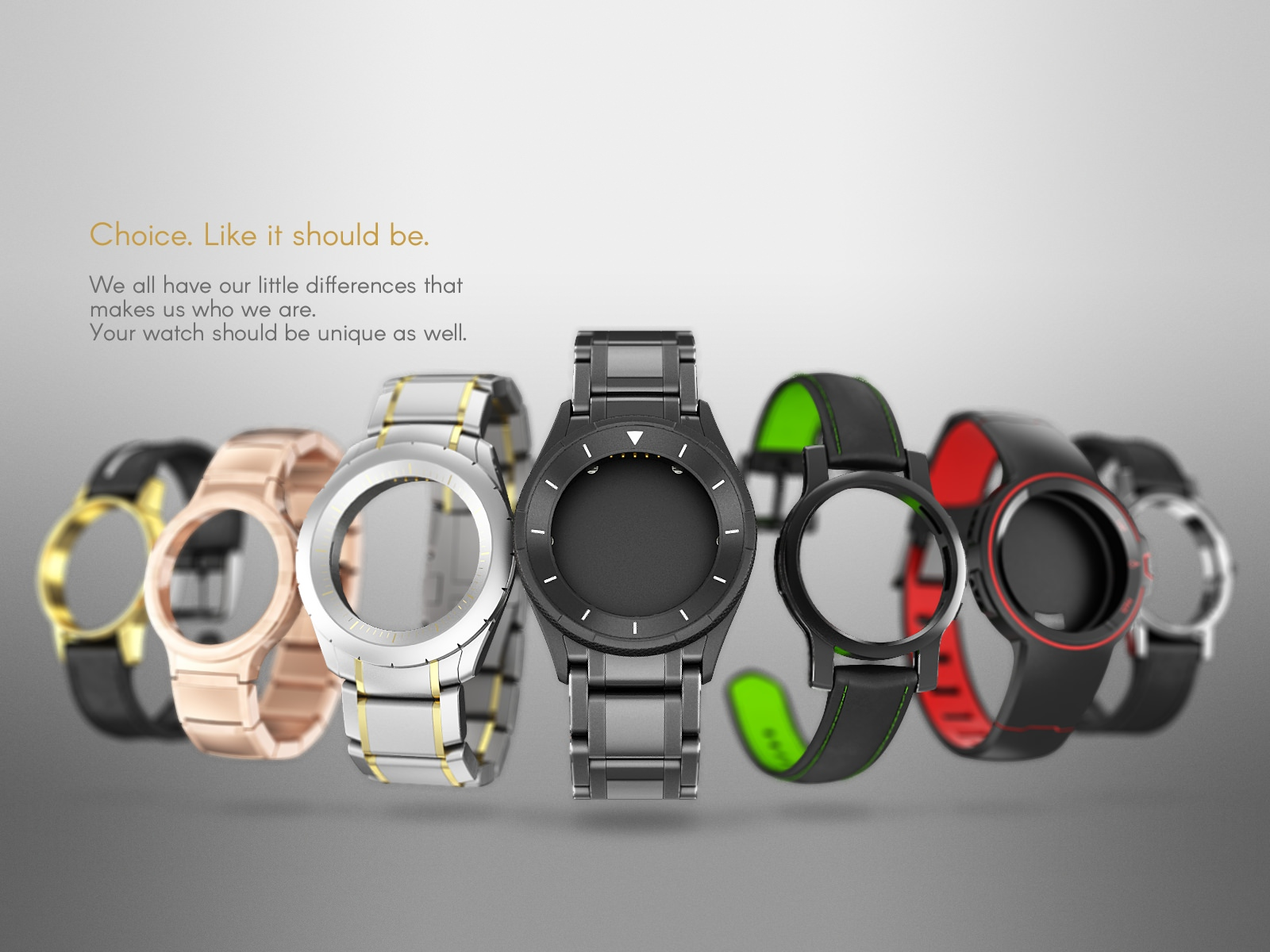 A staggered array of watch cases of various styles and colours