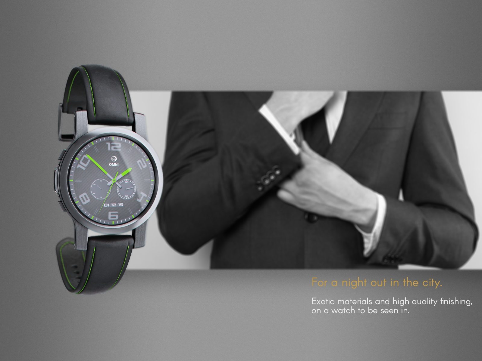 An example high end dark metal watch design