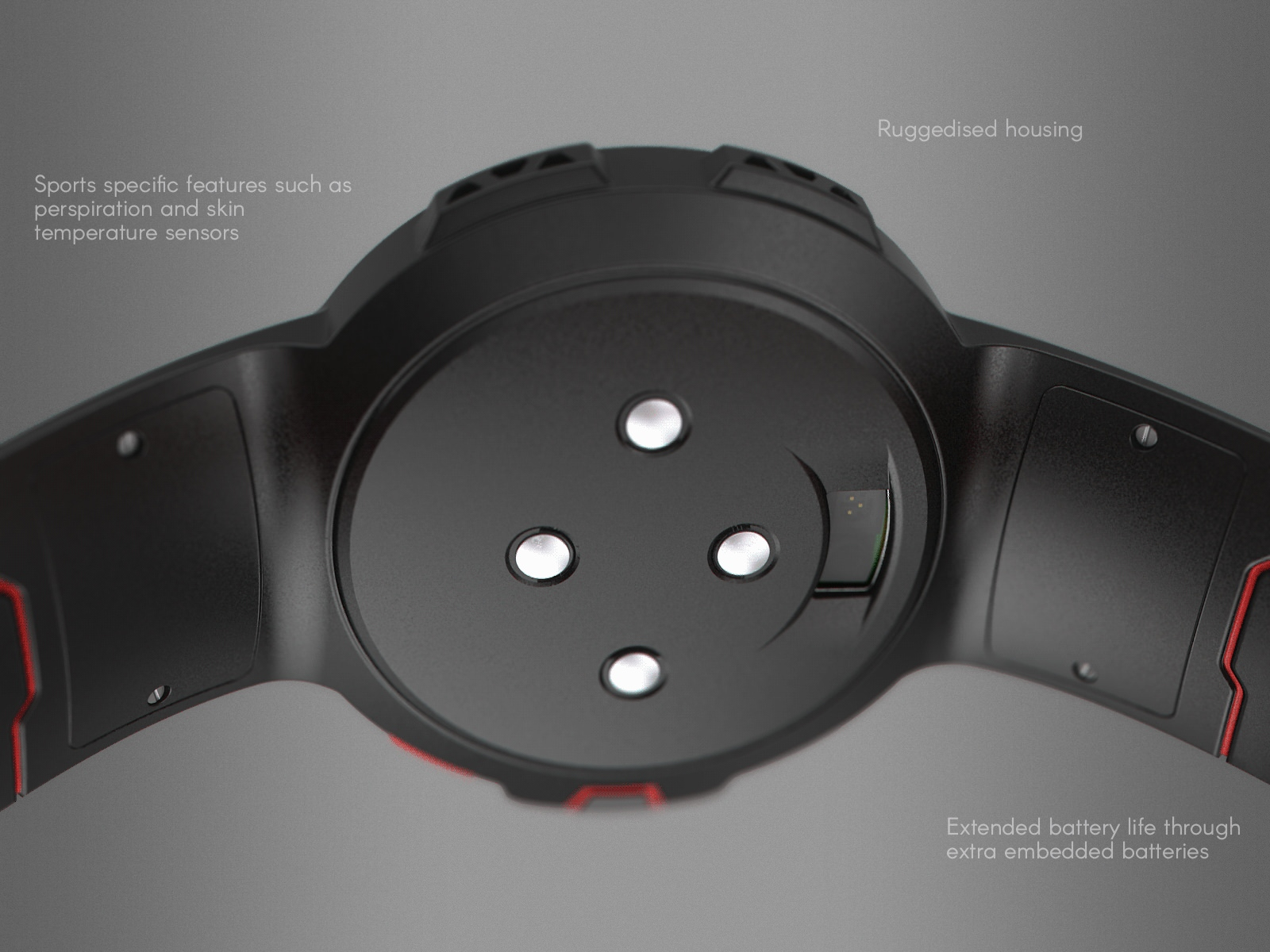 A close-up of the underside of the red and black sport watch design