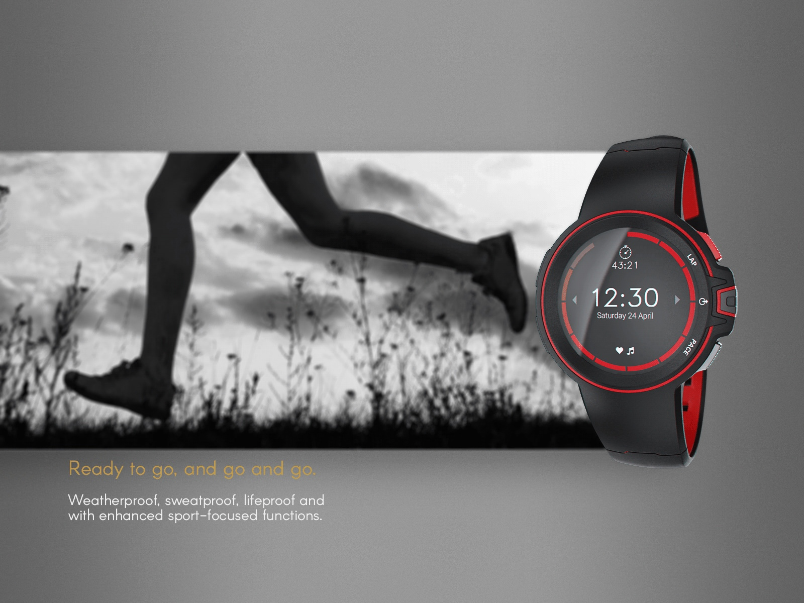 A red and black sport watch example design
