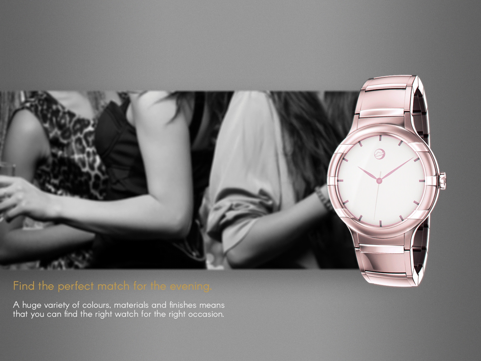 An example of an elegant woman's rose gold style watch