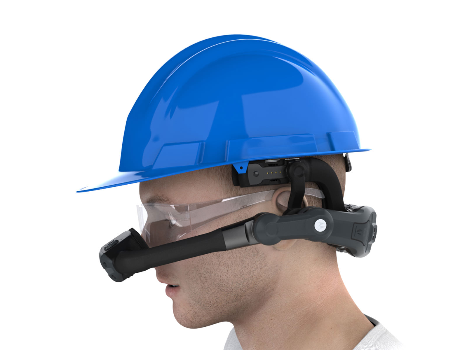 Hardhat wearing HC1 user from a side view