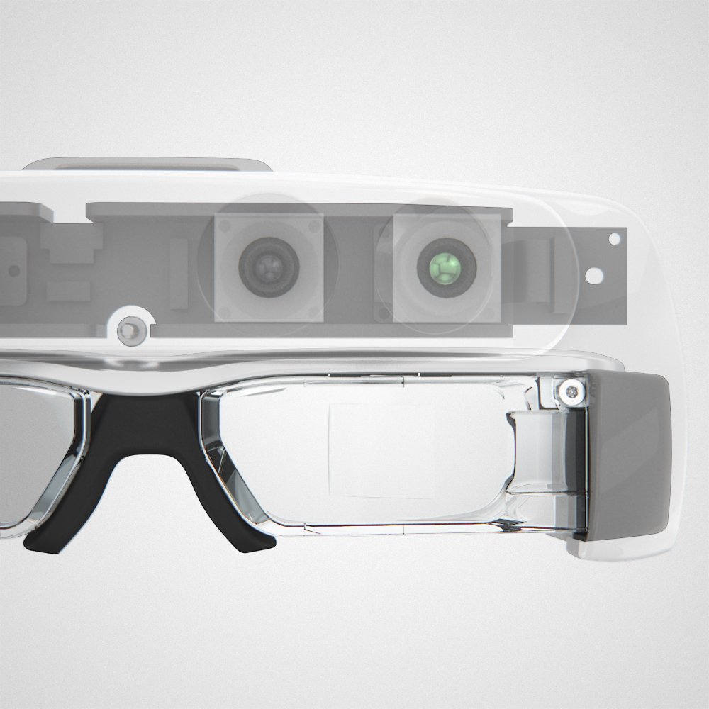 Front view of the Helios headset with transparent housing and a view of the internal pcb and cameras