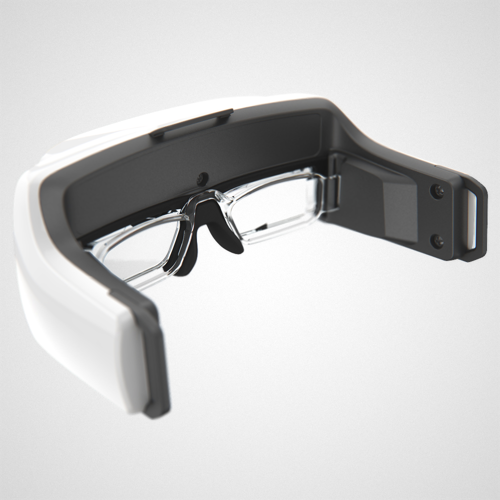 Rear view of the glossy white Helios headset