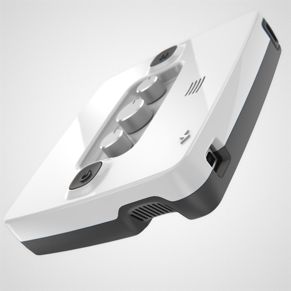 The glossy white control box with buttons and dials visible on the front face
