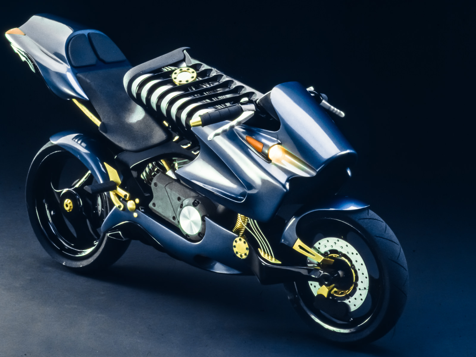 Final finished scale model of the metallic blue and gold accented H2 motorcycle