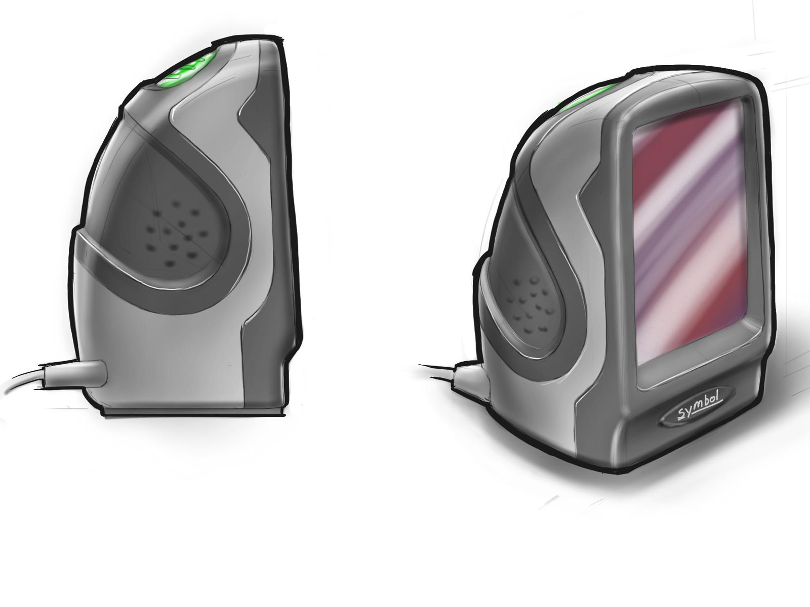 Early concept sketch for the DS9208 with a large flat scan window and rounded white and grey housing