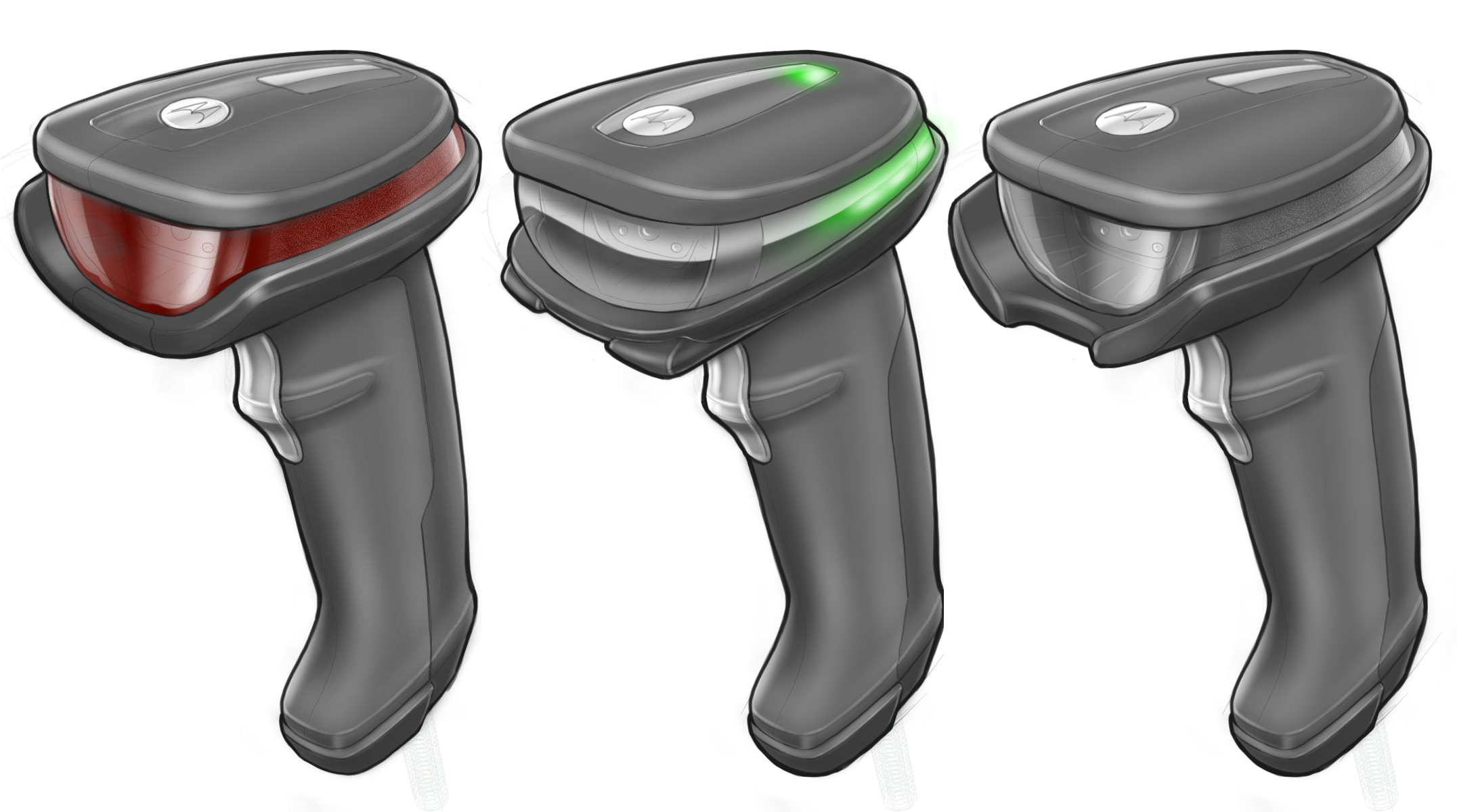 Concept sketches for different colours, materials and finishes of the low to mid-range Halo concept scanner