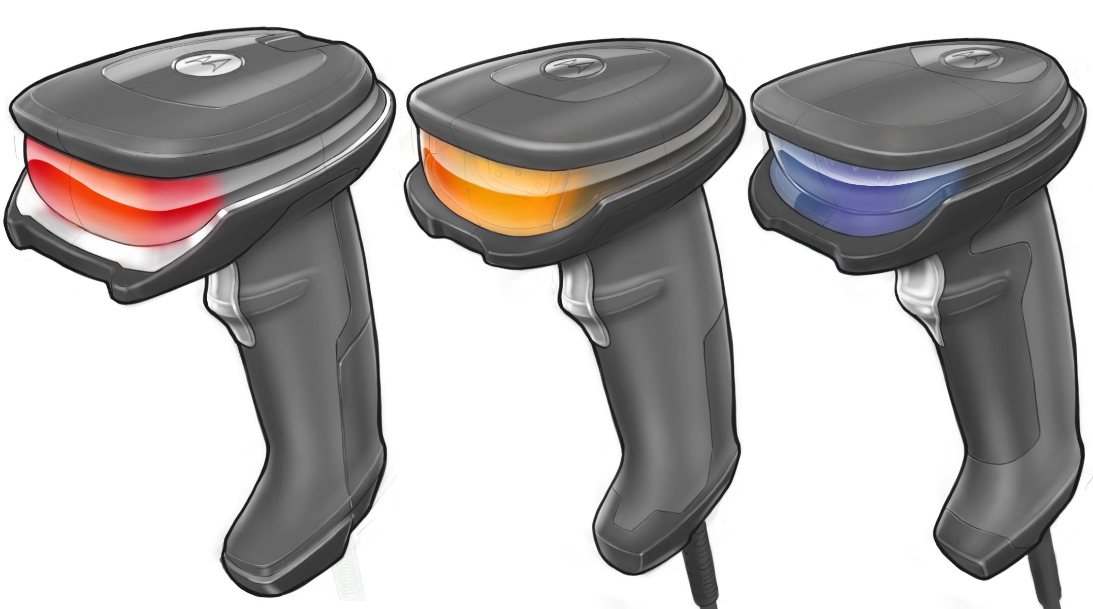 Concept sketches for different colours, materials and finishes of the mid to high-end Halo concept scanner