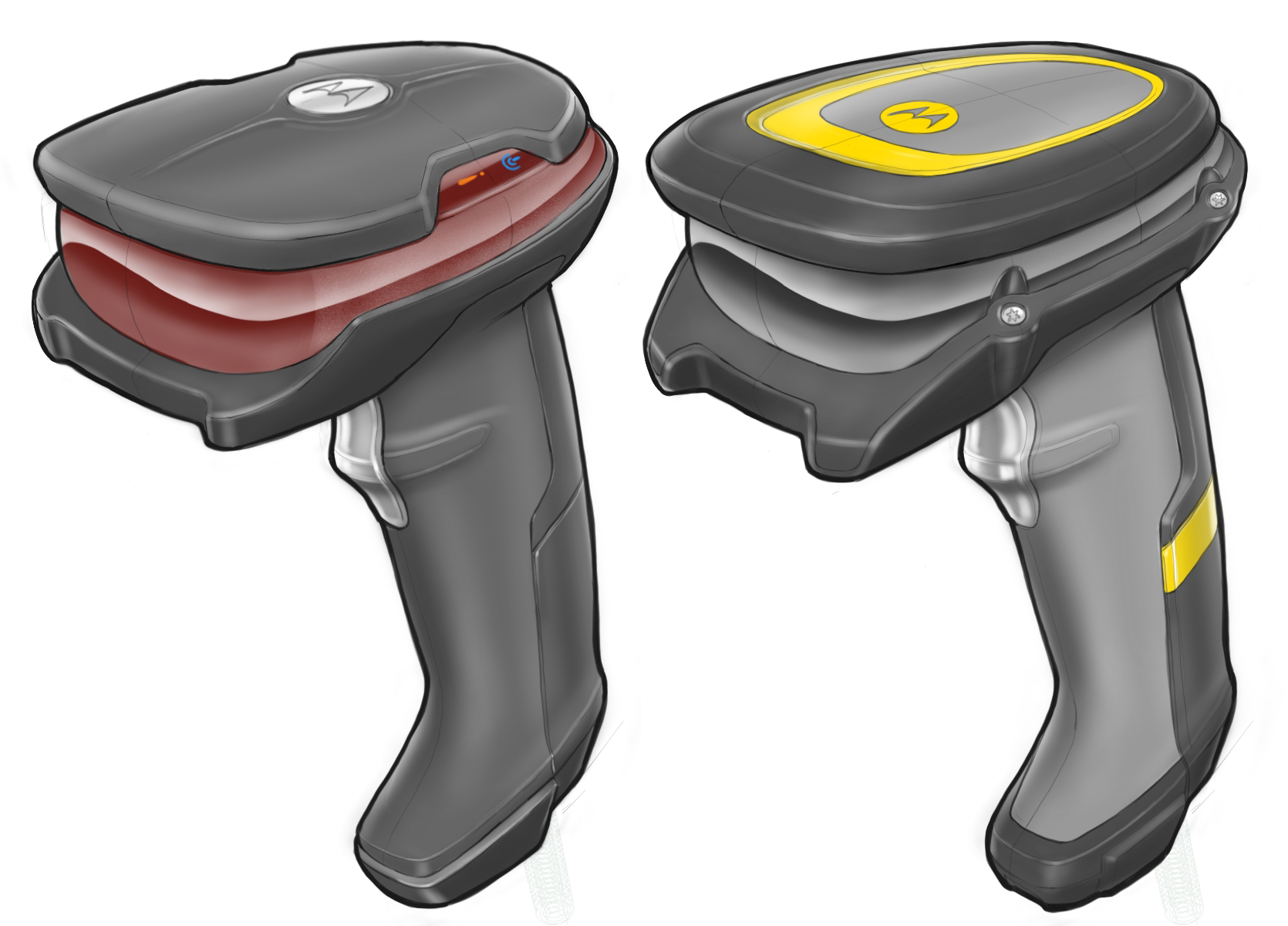 Concept sketches for different colours, materials and finishes of the high-end ruggedised Halo concept scanner