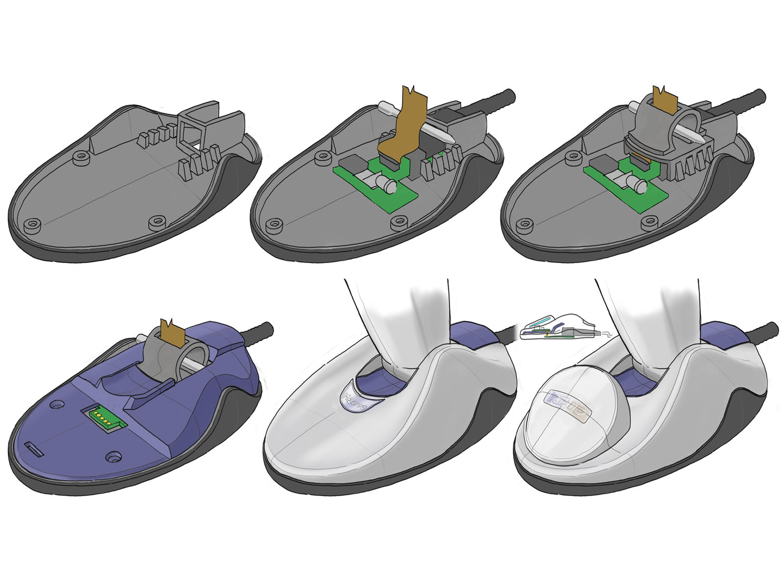 An early concept sketch for a possible assembly process of the base of the DS9808