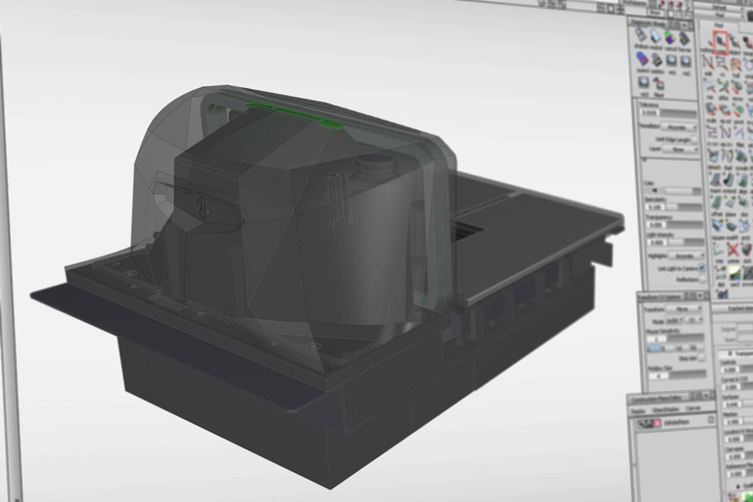 Rear view of the MP6000 with the internals visible in the CAD file