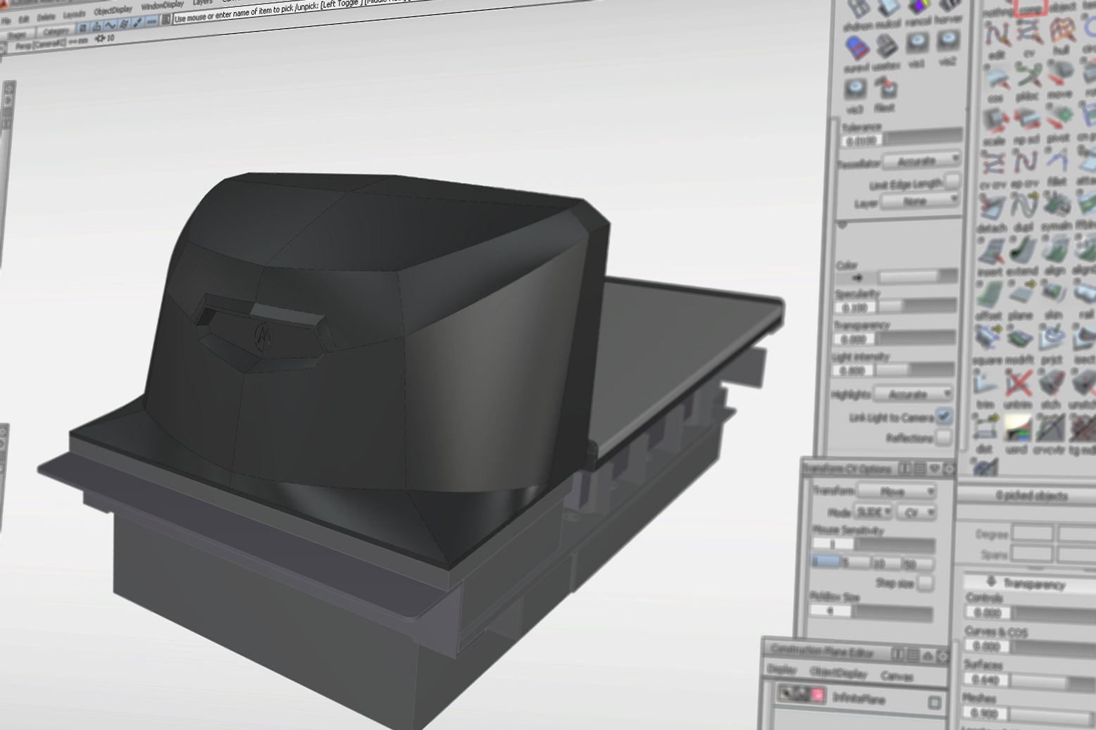 Rear view of the MP6000 housing in the CAD file