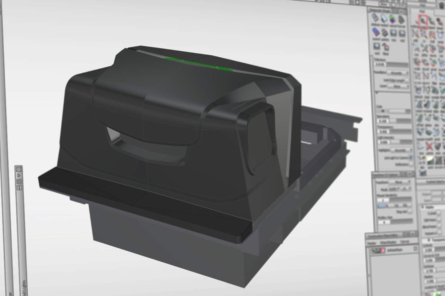 Rear view of the larger config MP6000 with the side mounted barcode scanner in the CAD file