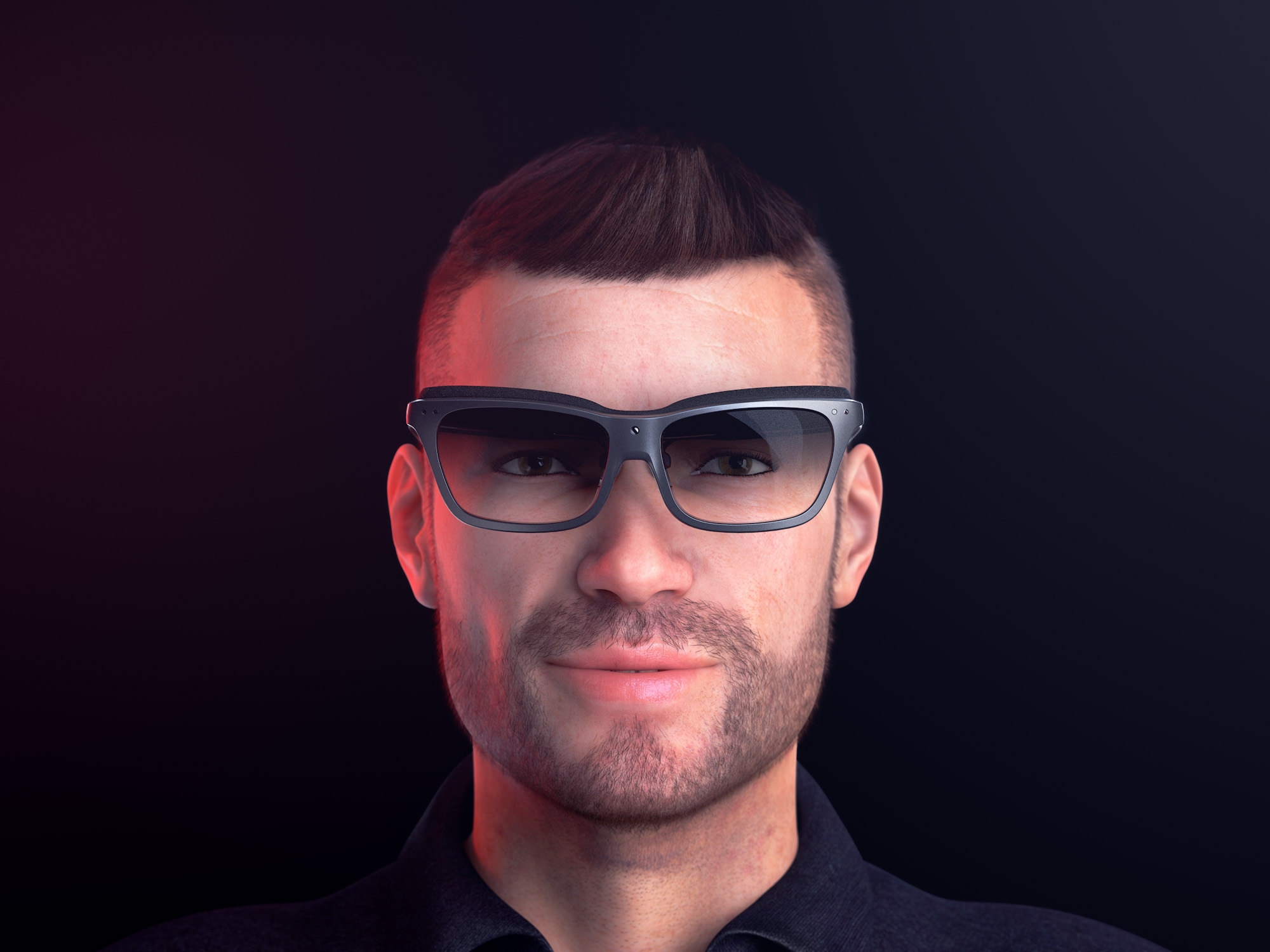Front view render of a man wearing a pair of concept WaveOptics glasses