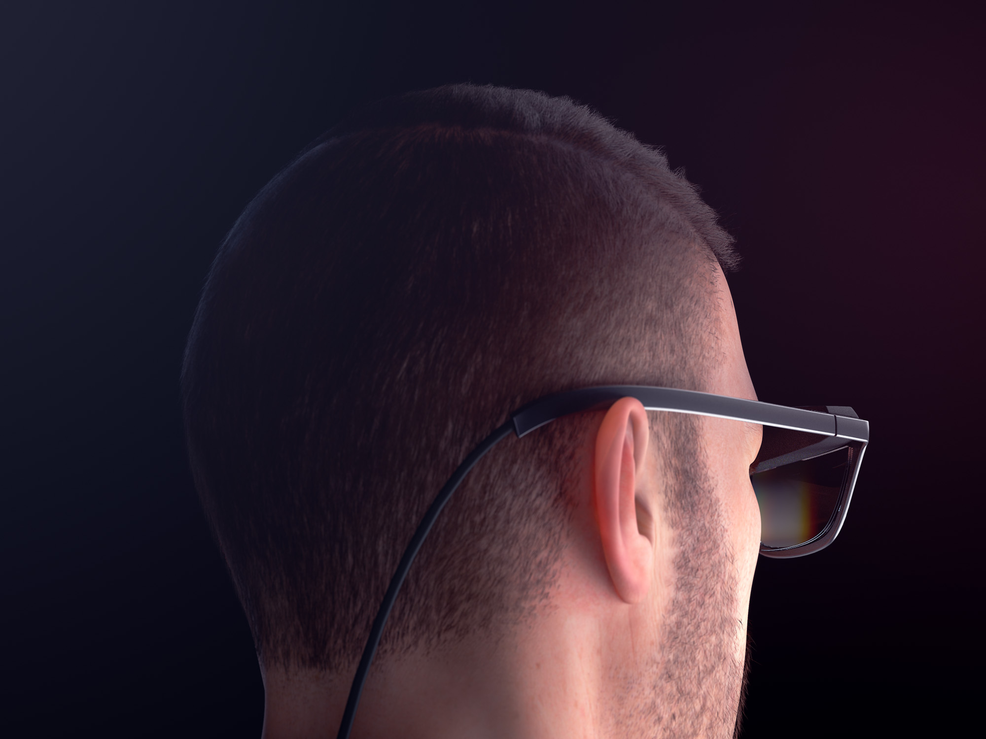 Rear view render of a man wearing a pair of concept WaveOptics glasses