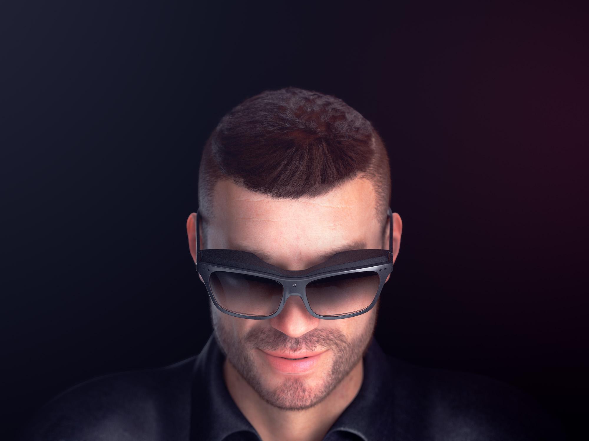 Top view render of a man wearing a pair of concept WaveOptics glasses