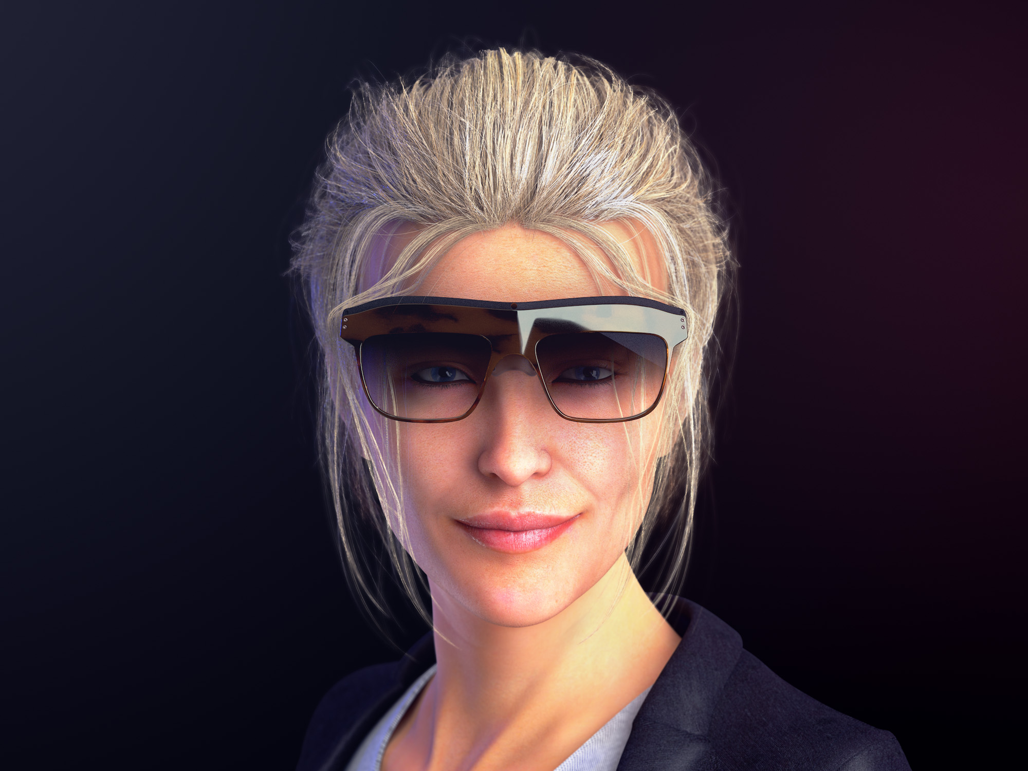 Front view render of a woman wearing a pair of concept WaveOptics glasses