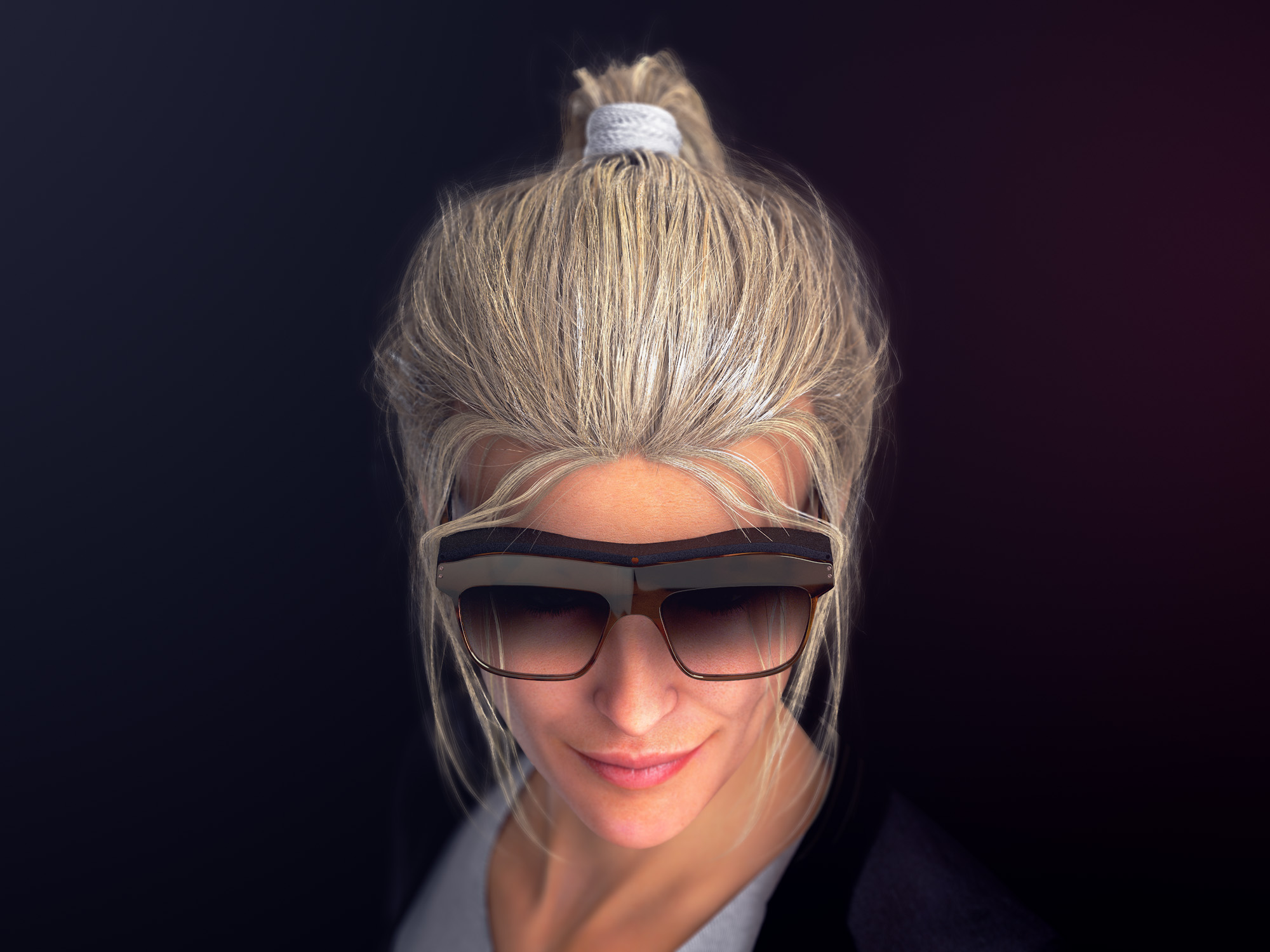 Top view render of a woman wearing a pair of concept WaveOptics glasses
