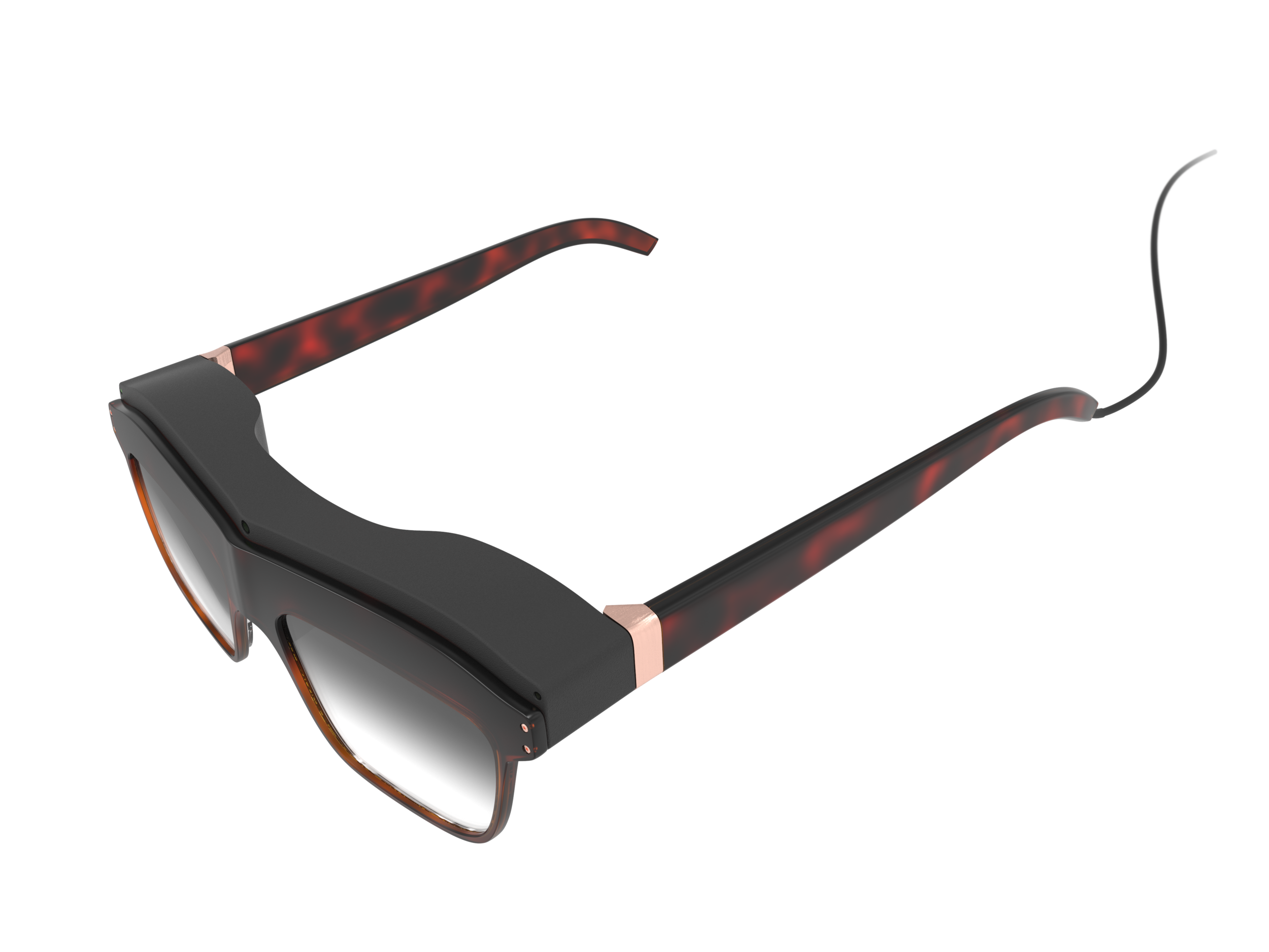 Top-side perspective view of the woman's concept design WaveOptics glasses