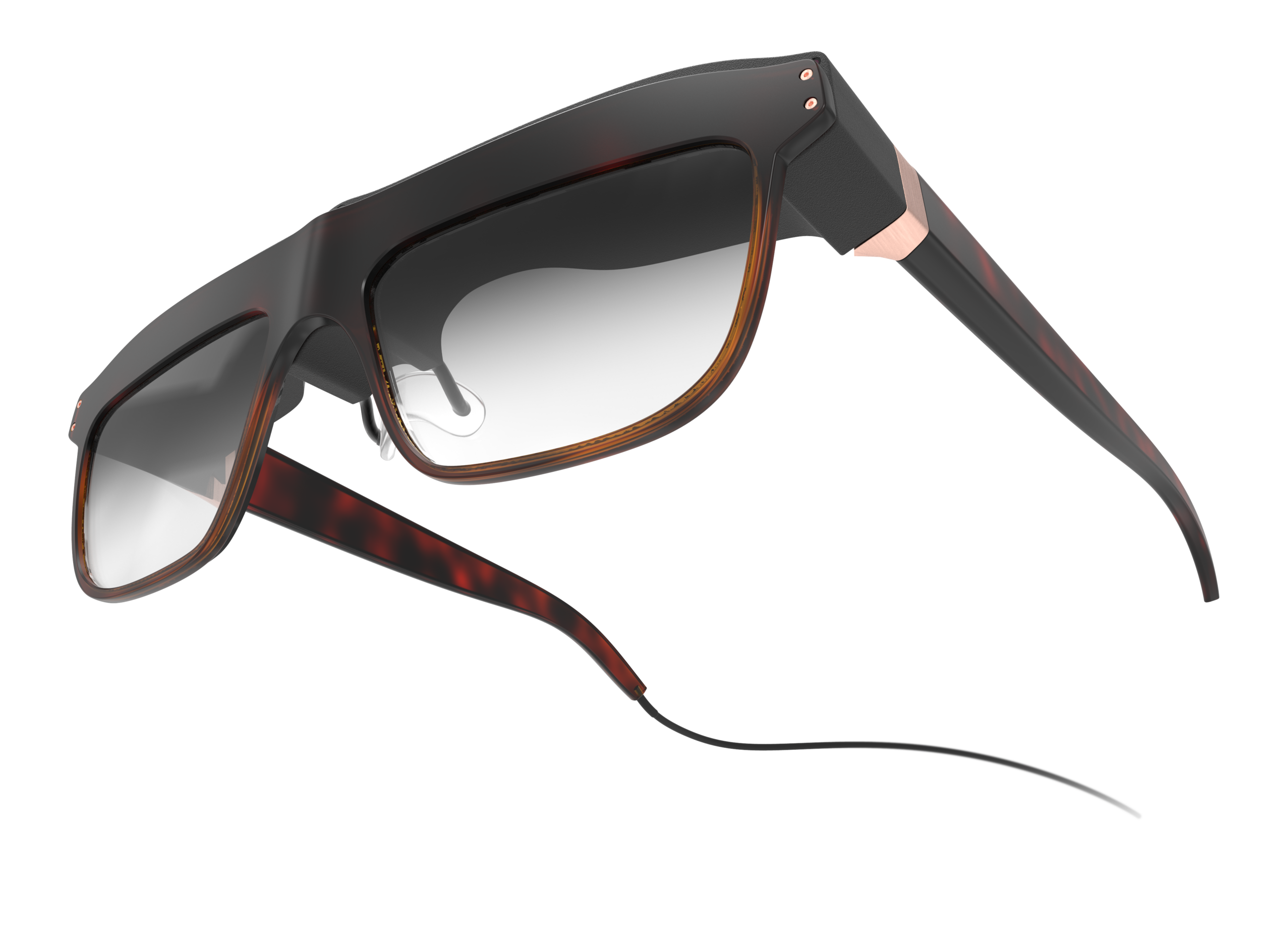 Frog-eye-view perspective of the woman's concept design WaveOptics glasses