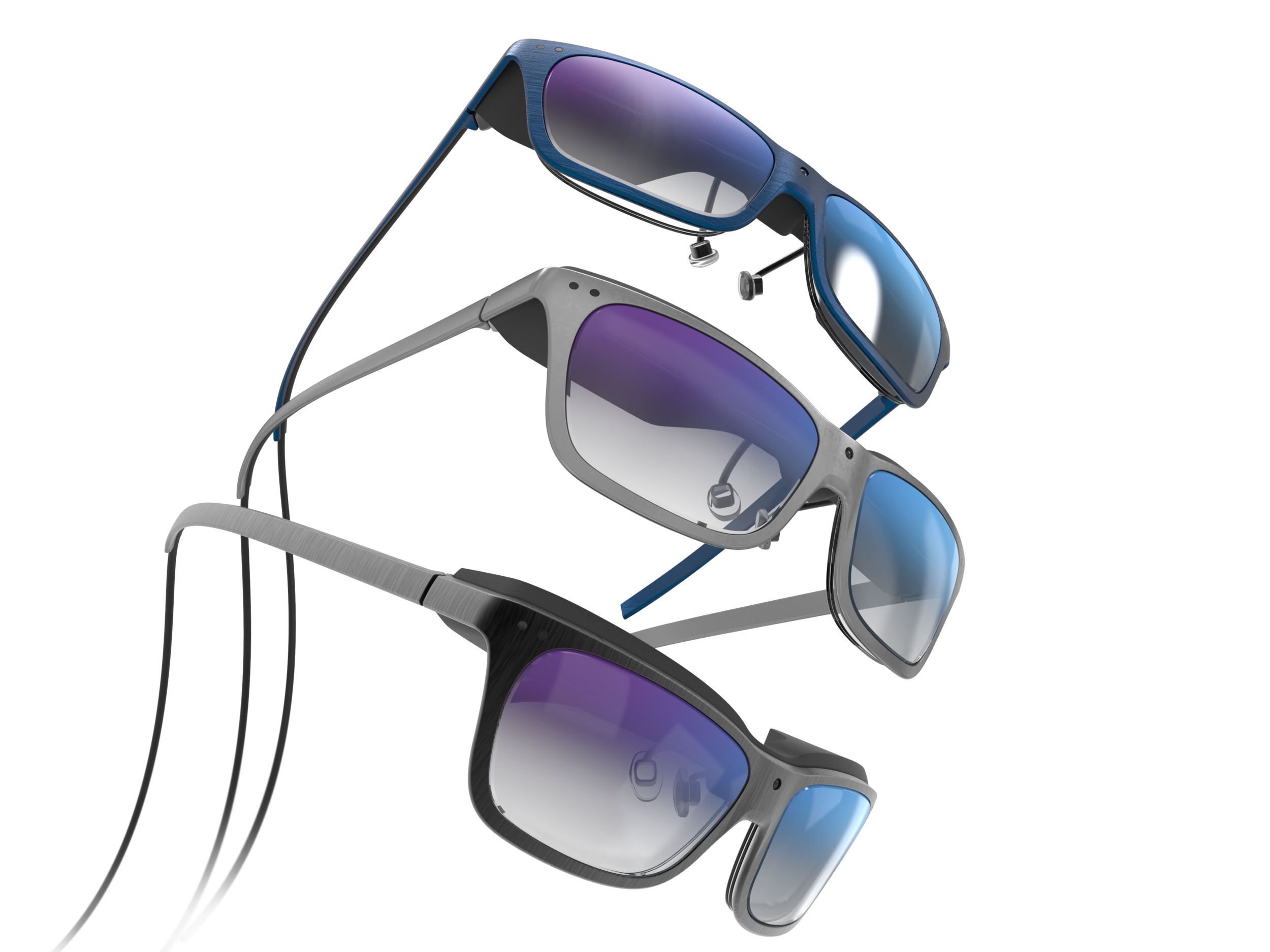 Array of 3 of the men's concept WaveOptics glasses in a variety of finishes