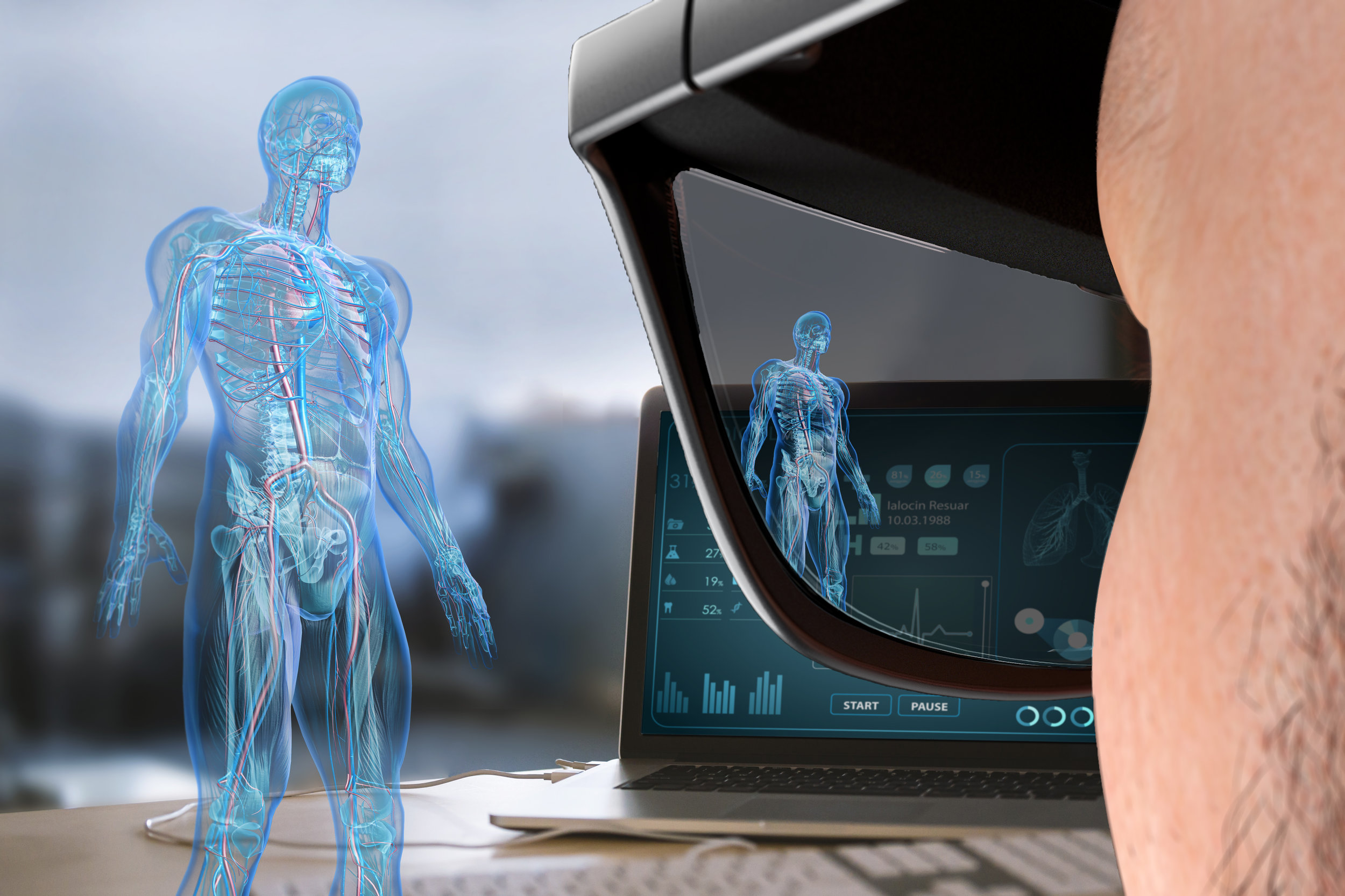 Simulated view of a human body diagnostic view as seen through the men's concept WaveOptics glasses