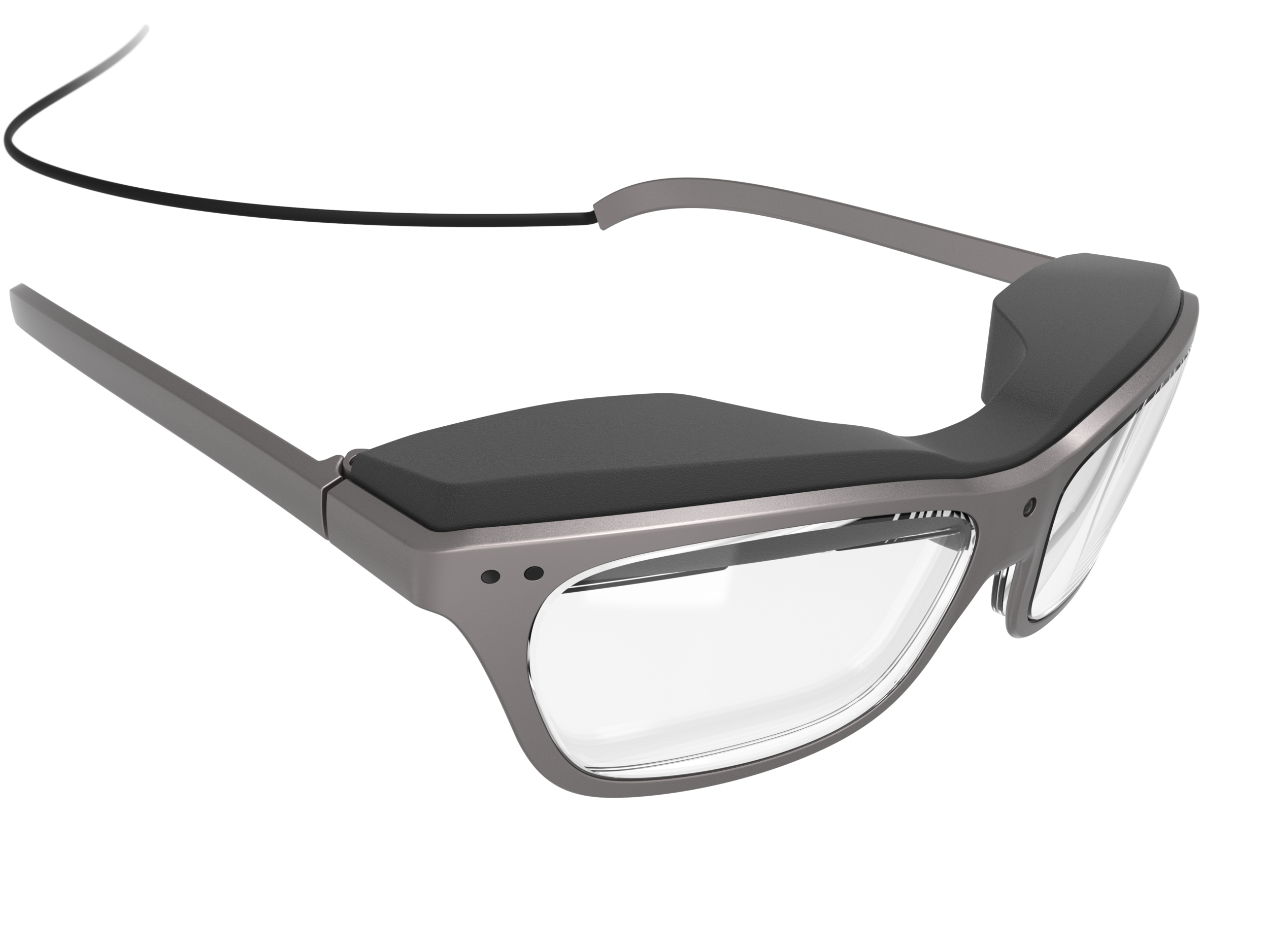 Front-top perspective view of the man's concept design WaveOptics glasses