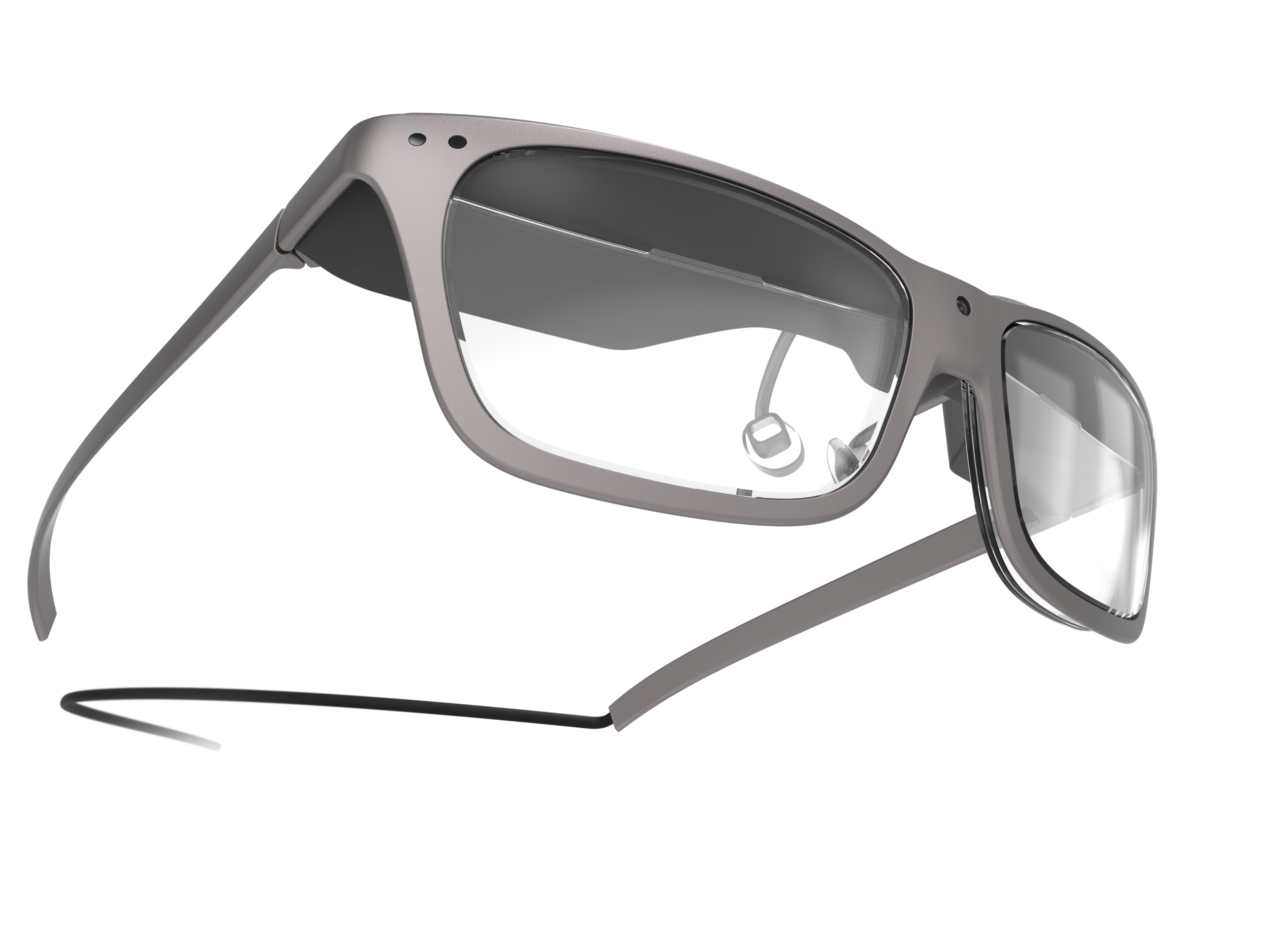 Frog-eye-view perspective of the man's concept design WaveOptics glasses