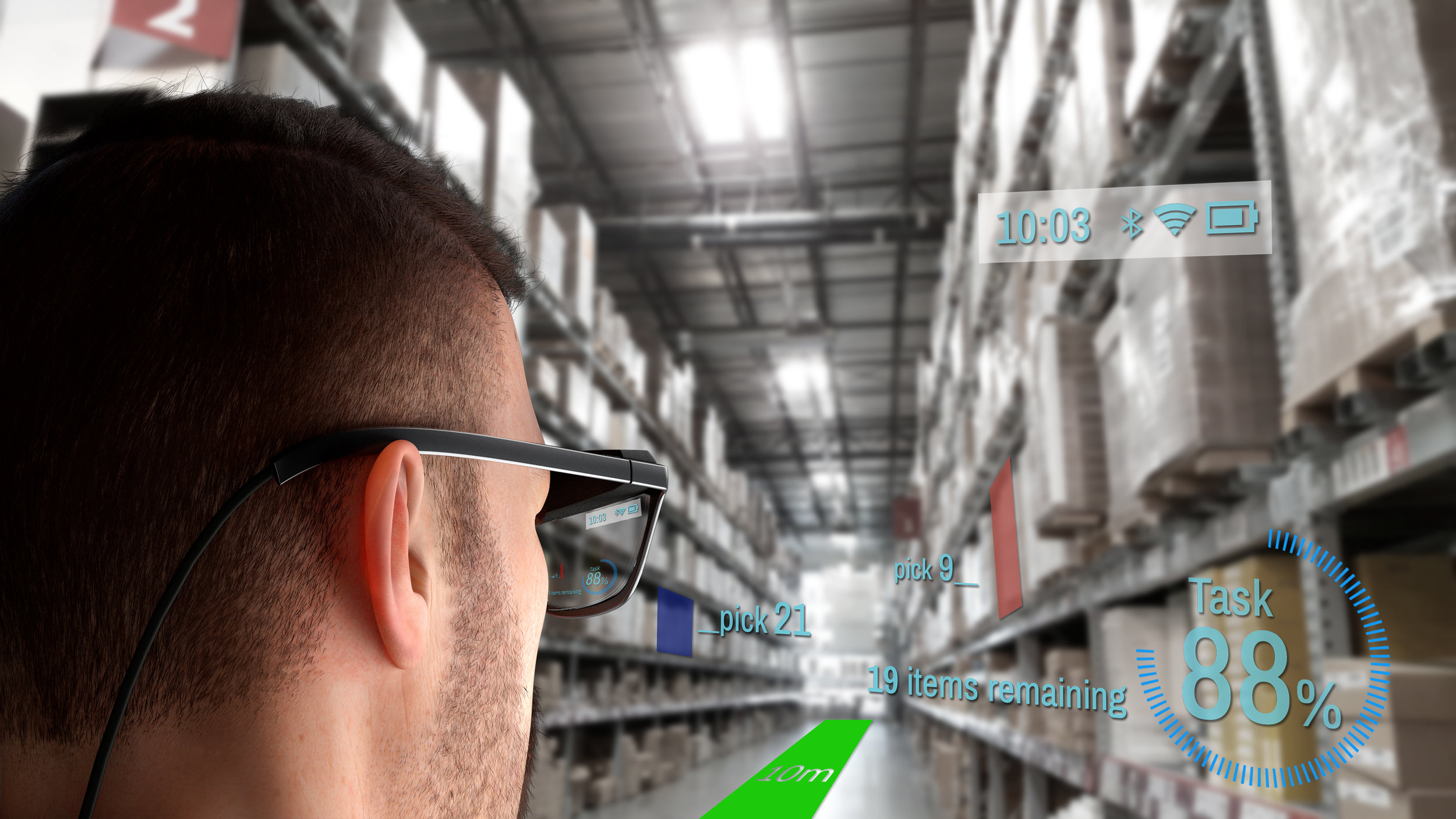 Simulated view of a warehouse scenario view as seen through the men's concept WaveOptics glasses