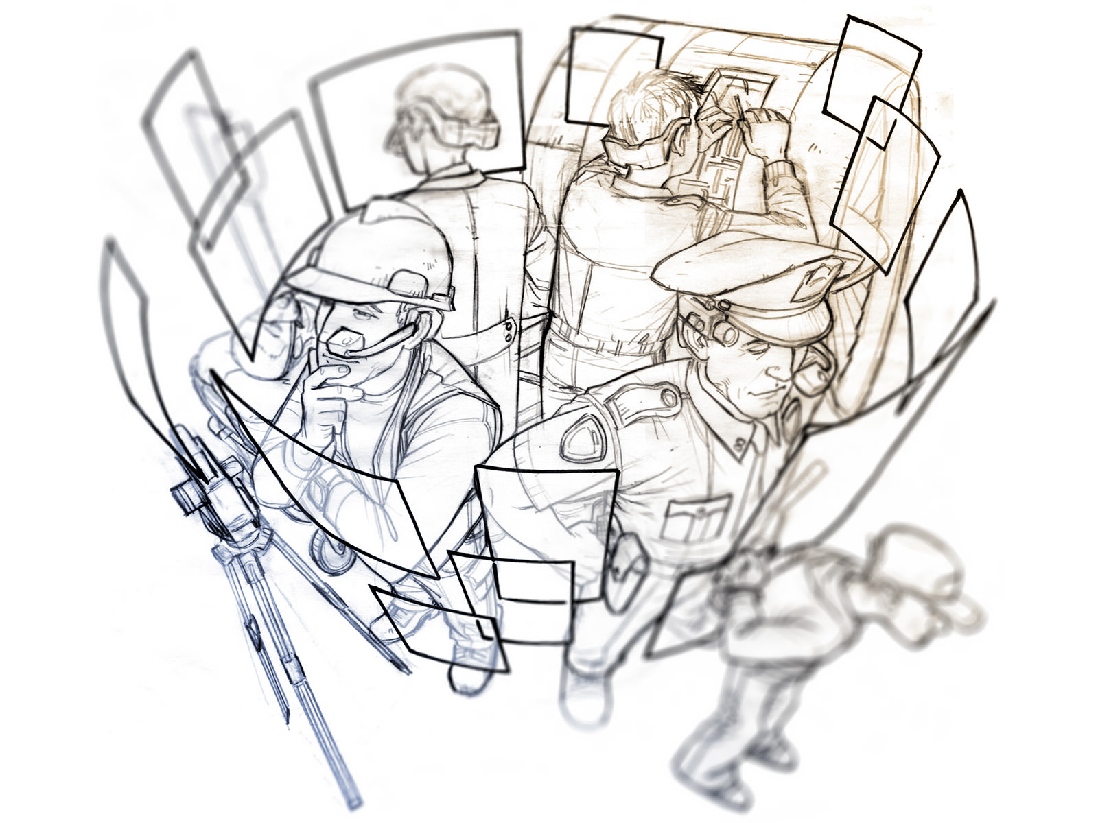 Pre-colourised sketch of 4 workers standing back-to-back wearing the HMD and virtual screens floating in front of them.