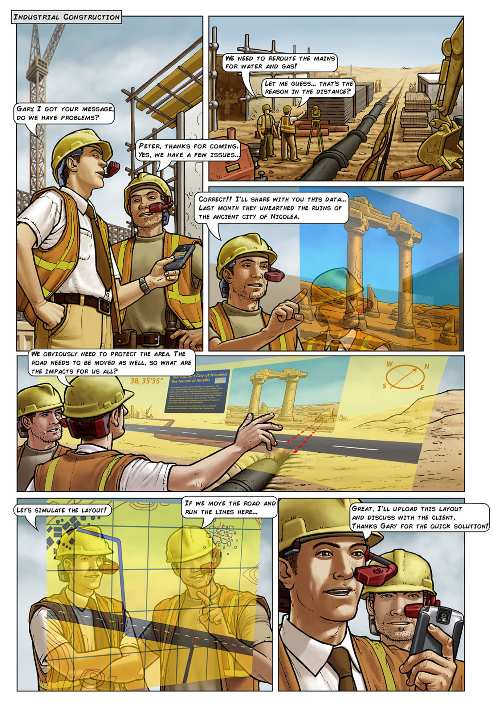Colourised comic strip of an HMD being worn during an architecture and building operation