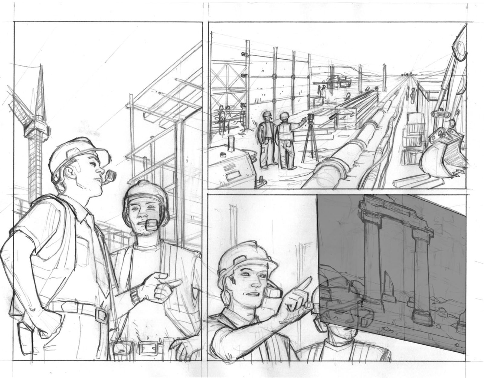 Pre-colourised comic strip of an HMD being worn during an architecture and building operation