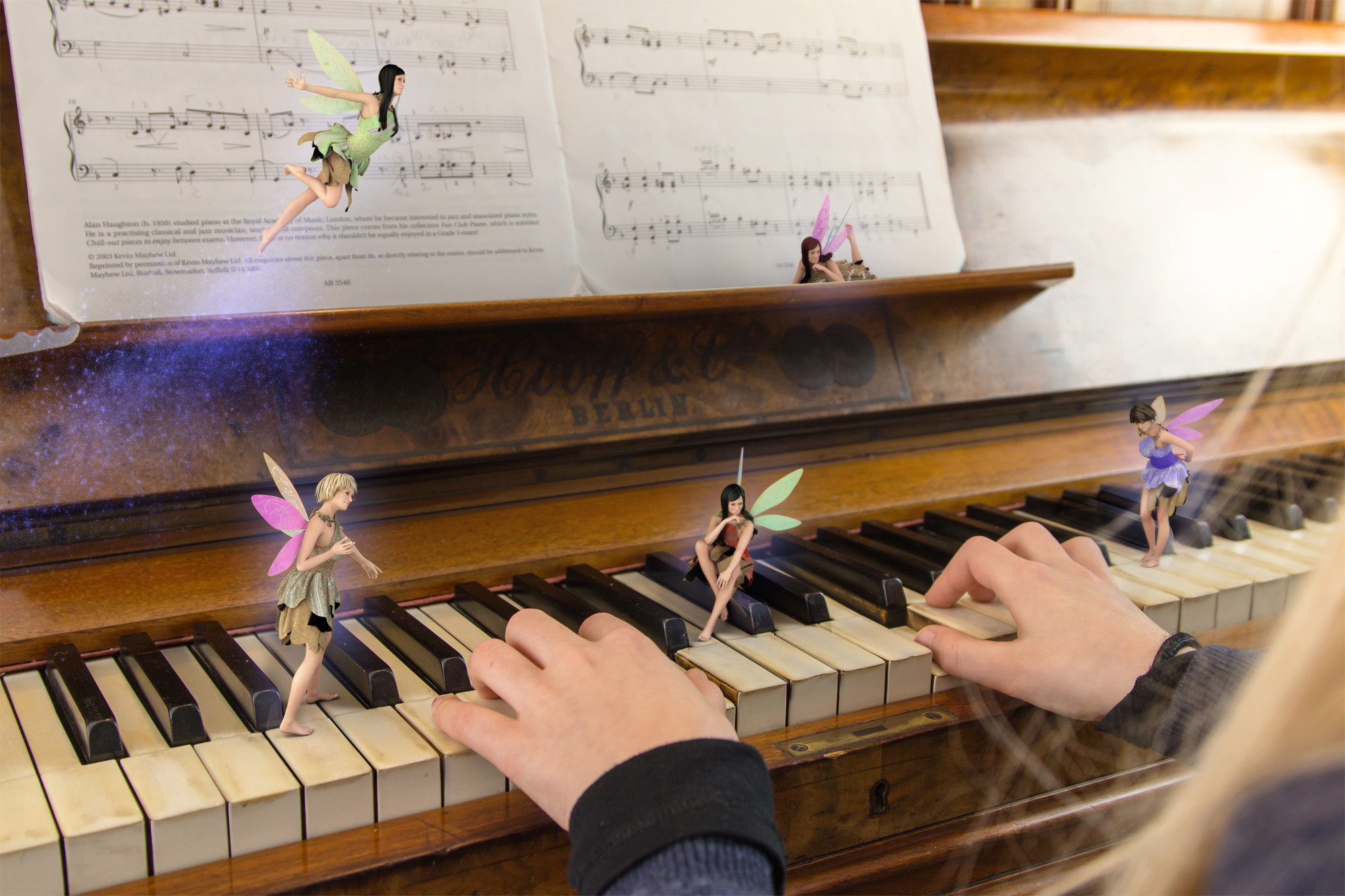 5 fairies dancing around a young girls hand while she learns how to play piano with their guidance